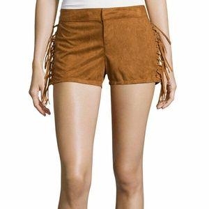 Boom Boom Camel Suede Laced Mini Shorts